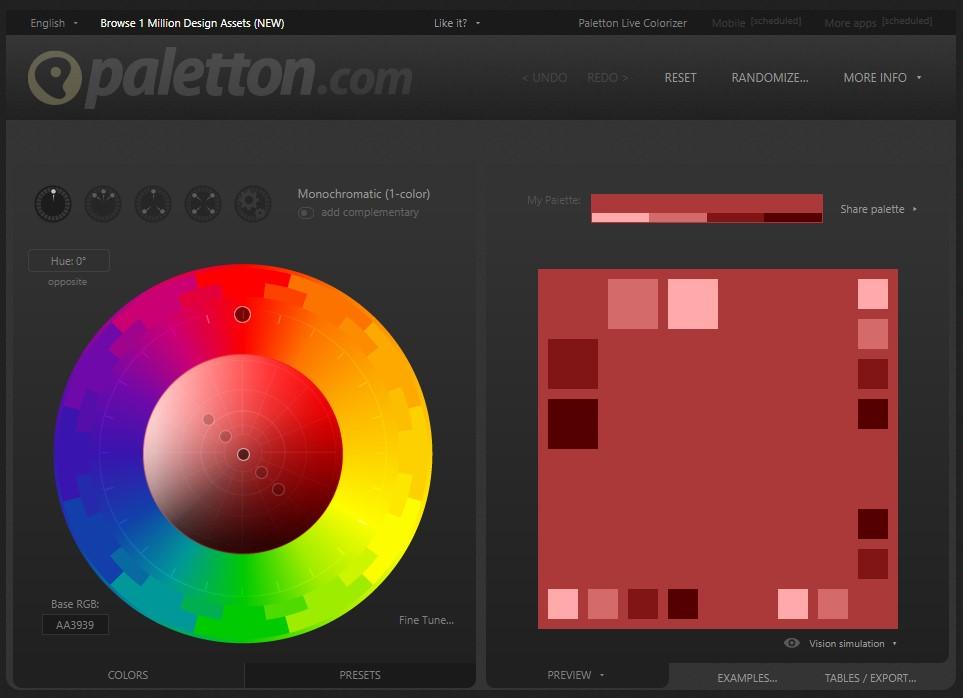 paletton, générateur de couleurs